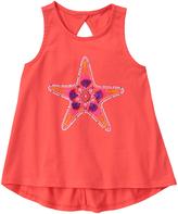Gymboree Dark Coral Starfish Graphic Keyhole-Back Hi-Low Tank - Girls