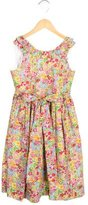 Oscar de la Renta Girls Floral Print Tie-Accented Dress w/ Tags