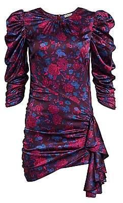 For Love & Lemons Women's Endless Floral Puff-Sleeve Side Drape Bodycon Dress
