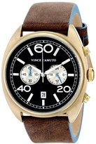 Vince Camuto Men's VC/1053BNGP The Transporter Gold-Tone Chronograph Brown Leather Strap Watch