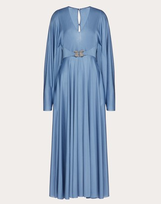 Valentino Fluid Jersey Dress With Griffins Women Blue Viscose 100% 38