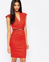 Paper Dolls Belted Pencil Dress