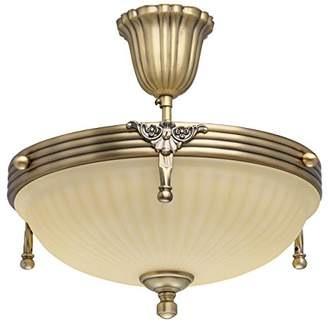 Camilla And Marc Brass-Coloured Classic Metal 2 Bells Glass 3 Light Ceiling Fitting ø32 cm Excl. E14 3x60 W 230 V