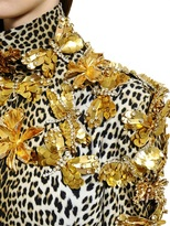 Ungaro Brooches On Monk Neck Printed Cady
