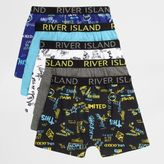 River Island Boys Blue word print boxers multipack