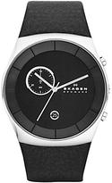 Skagen Skw6070 Klassik Chronograph Leather Strap Watch, Black