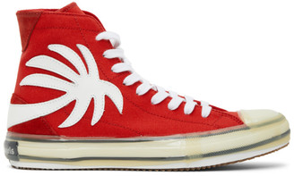 Palm Angels Red Palm Vulcanized High Top Sneakers