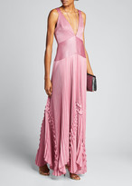 Alexis Bellona Pleated Ruffle Long Dress
