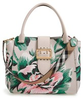Burberry Medium Buckle Floral Calfskin Leather Tote - Green