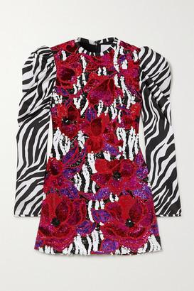 Halpern Sequin-embellished Zebra-print Satin Mini Dress - Red