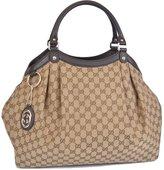 Gucci Women's Large Canvas GG Guccissima Sukey Hobo Handbag
