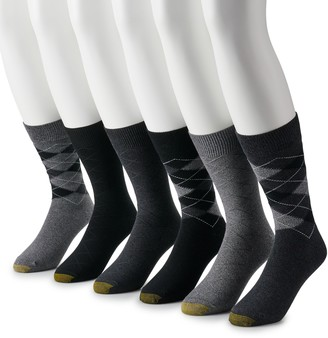 Gold Toe Men's GOLDTOE 6-pack Cambell Argyle Extended Sizes Crew Socks