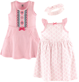 Hudson Baby Pink Geometric Dress & Headband Set - Infant