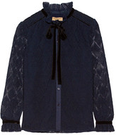 Burberry Velvet And Stretch Cotton-trimmed Macramé Lace Blouse - Navy