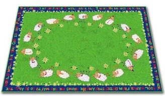 """Kid Carpet Little Lambs of God Circle Time Tufted Green Rug Rug Size: Rectangle 6' x 8'6"""""""