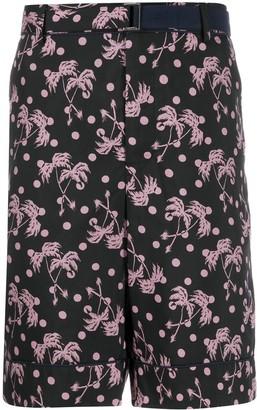Sacai Palm Tree Print Bermuda Shorts
