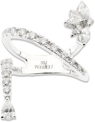 YEPREM 18kt White Gold Pear Diamond Dangle Ring