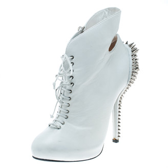 Giuseppe Zanotti White Leather Spike Embellished Heel Cut Out Ankle Boots Size 37.5