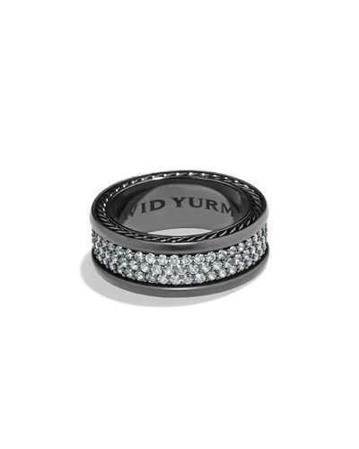 David Yurman Men's Three-Row Band Ring with Sapphire
