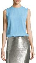 Diane von Furstenberg Two-Tone Satin-Back Shell Top, Blue/Salmon