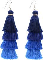 Ella & Elly Women's Earrings Blue - Blue Ombre Tassel Drop Earrings
