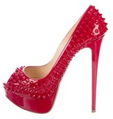 Christian Louboutin Lady Peep Spikes 150 Patent Leather Pumps