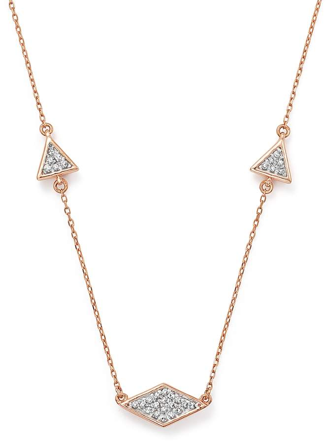 Adina 14K Rose Gold Pave Diamond Triangle Necklace, 12.5
