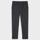 Men's Charcoal Grey Crosshatch-Textured Red Ear Trousers