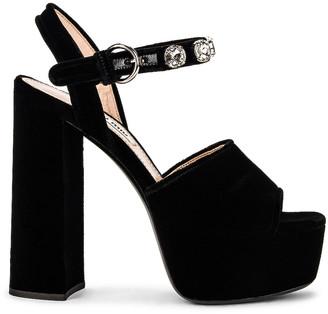 Miu Miu Crystal Slingback Platform Sandals in Nero | FWRD