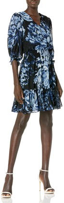 Taylor Dresses Women's Elbow Sleeve V-Neck Smocked Waist Floral Print Chiffon Dress