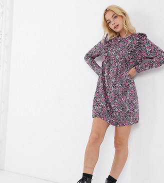 ASOS DESIGN Petite mini smock dress with frill detail in pink ditsy floral print