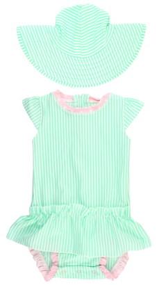RuffleButts Ruffle Butts One-Piece Swimsuit & Hat Set