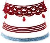 Charlotte Russe Crochet, Denim & Faux Suede Choker Necklaces - 3 Pack