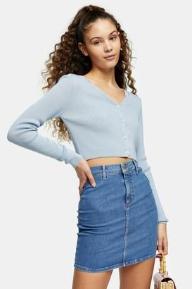 Topshop Blue Stretch Denim Joni Skirt