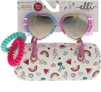 Icons Girls Elli by Capelli Rainbow Heart Sunglasses & Beach Case Set With Bonus Ponies