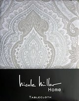 Nicole Miller Fabric Tablecloth Tan Light Beige Christmas Holiday Paisley Pattern with Silver Highlights on Cream 70 Inches Round