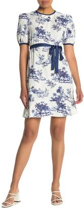 Donna Morgan Poplin Printed Waist Tie Dress (Petite)