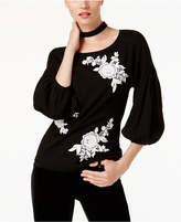 INC International Concepts Embroidered Lace Sweater, Created for Macy's