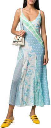 Rixo London Denise Patchwork Floral Silk Slip Dress