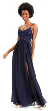City Studios Juniors' Embellished Lace-Top Gown, Created for Macy's