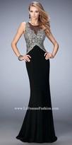 La Femme Liza Sparkling Illusion Prom Dress
