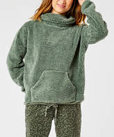 Carve Designs Women's Pullover Sweaters Moss - Moss Kangaroo-Pocket Fuzzy Roley Cowl Neck Sweater - Women