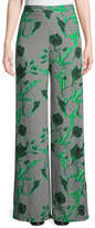 Lela Rose Linear Floral-Printed Wide-Leg Crepe Pants