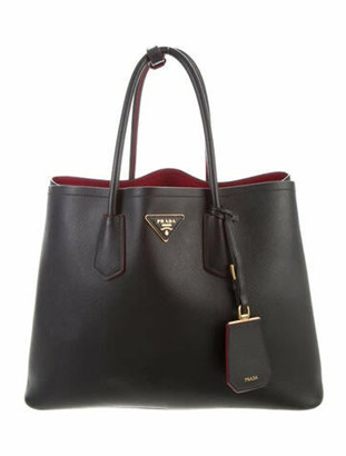 Prada Medium Saffiano Cuir Double Tote Nero