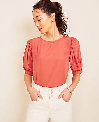 Ann Taylor Petite Tie Back Puff Sleeve Top