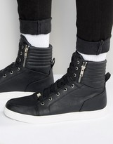 Asos Sneakers in Black With Large Cuff and Zips