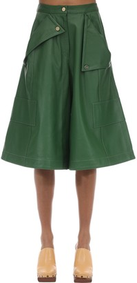 Jacquemus Cropped Leather Wide Leg Pants