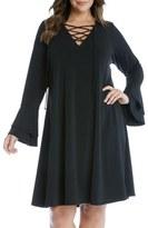 Karen Kane Lace-Up Flare Sleeve Jersey Dress (Plus Size)