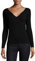 Milly Long-Sleeve Boudoir-Neckline Ribbed Pullover, Black