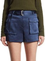 Theory Vasilica Silk Mini Shorts